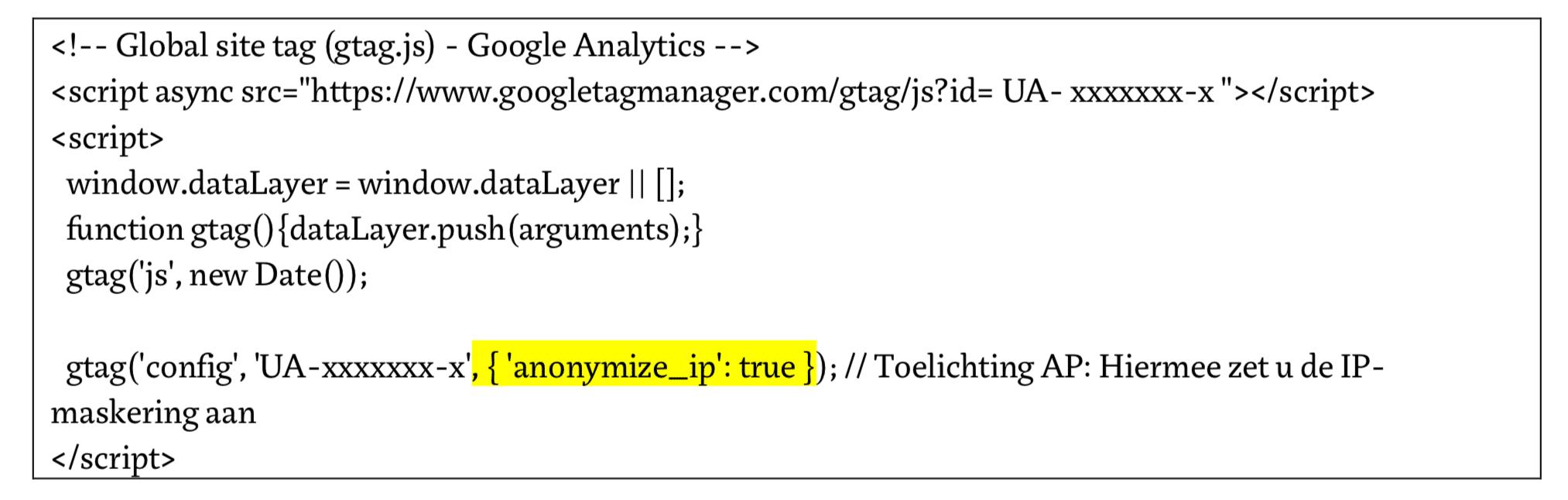IP-adres anonimiseren Google Analytics tracking code